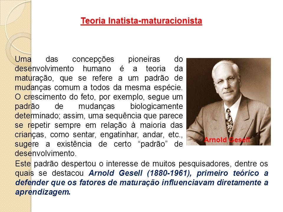 Teoria Inatista-maturacionista Uma das concepções pioneiras do desenvolvimento humano é a teoria da maturação, que se refere a um padrão de mudanças c