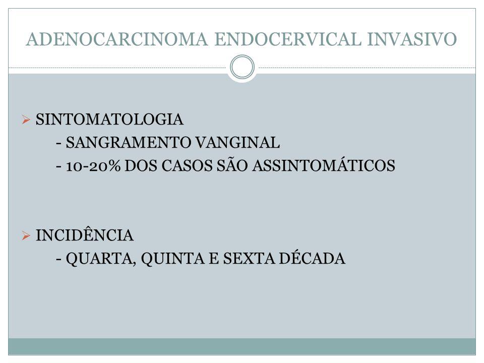 ADENOCARCINOMA ENDOCERVICAL INVASIVO SINTOMATOLOGIA - SANGRAMENTO VANGINAL - 10-20% DOS CASOS SÃO ASSINTOMÁTICOS INCIDÊNCIA - QUARTA, QUINTA E SEXTA D