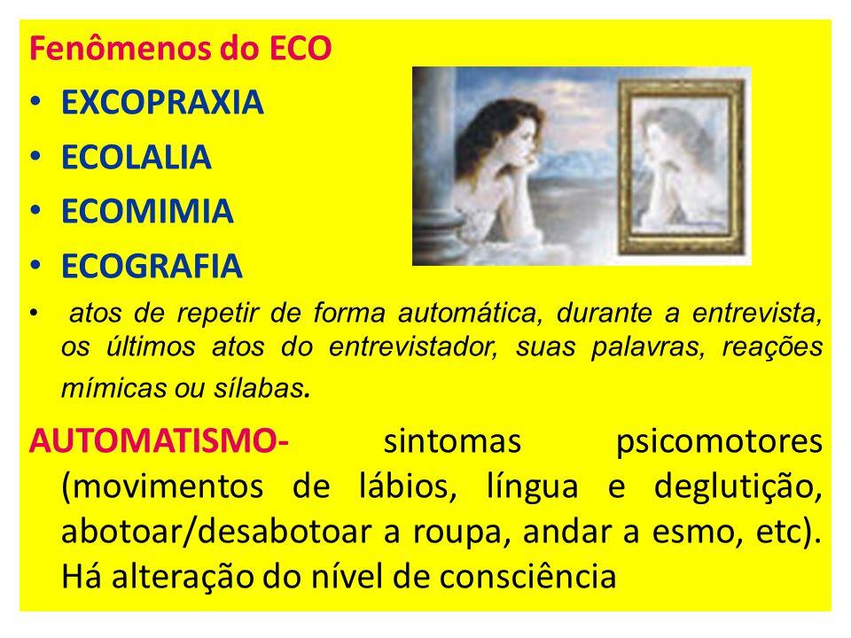 Fenômenos do ECO EXCOPRAXIA ECOLALIA ECOMIMIA ECOGRAFIA atos de repetir de forma automática, durante a entrevista, os últimos atos do entrevistador, suas palavras, reações mímicas ou sílabas.
