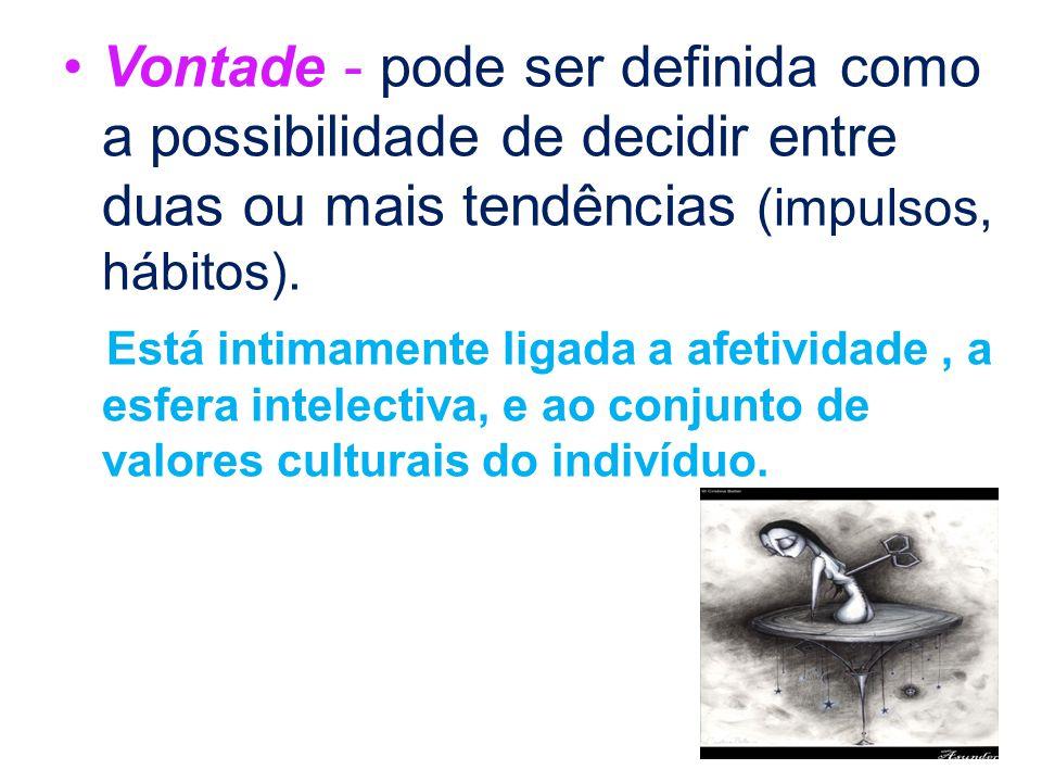 Vontade - pode ser definida como a possibilidade de decidir entre duas ou mais tendências (impulsos, hábitos).