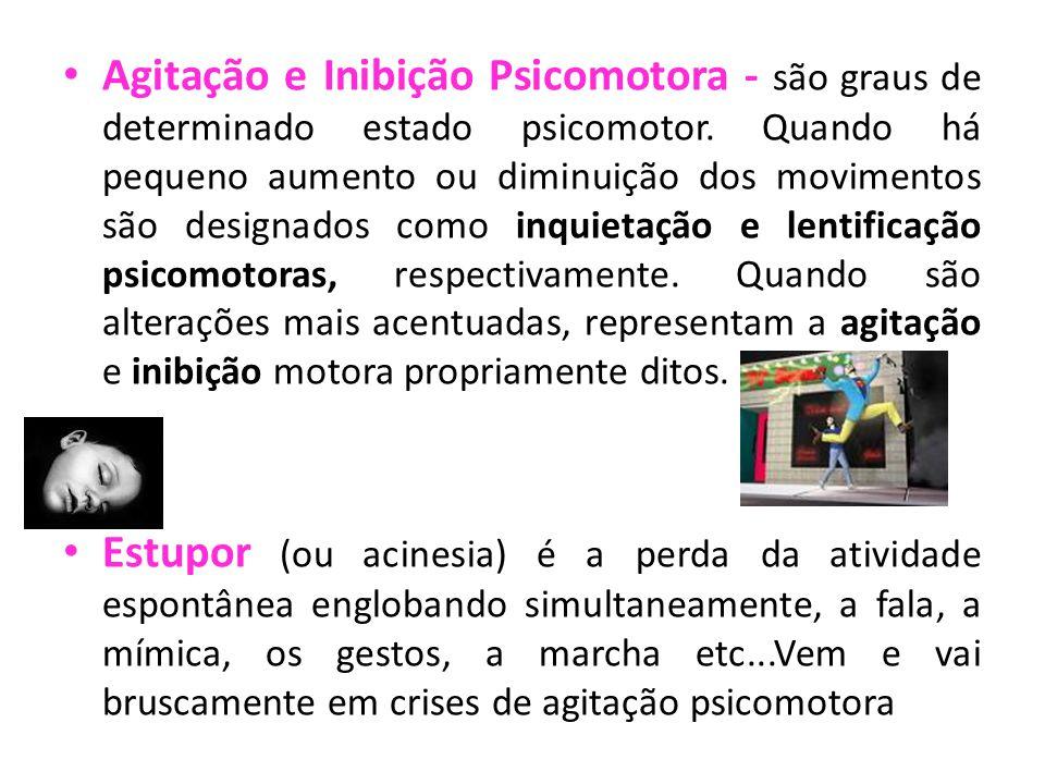 Agitação e Inibição Psicomotora - são graus de determinado estado psicomotor.