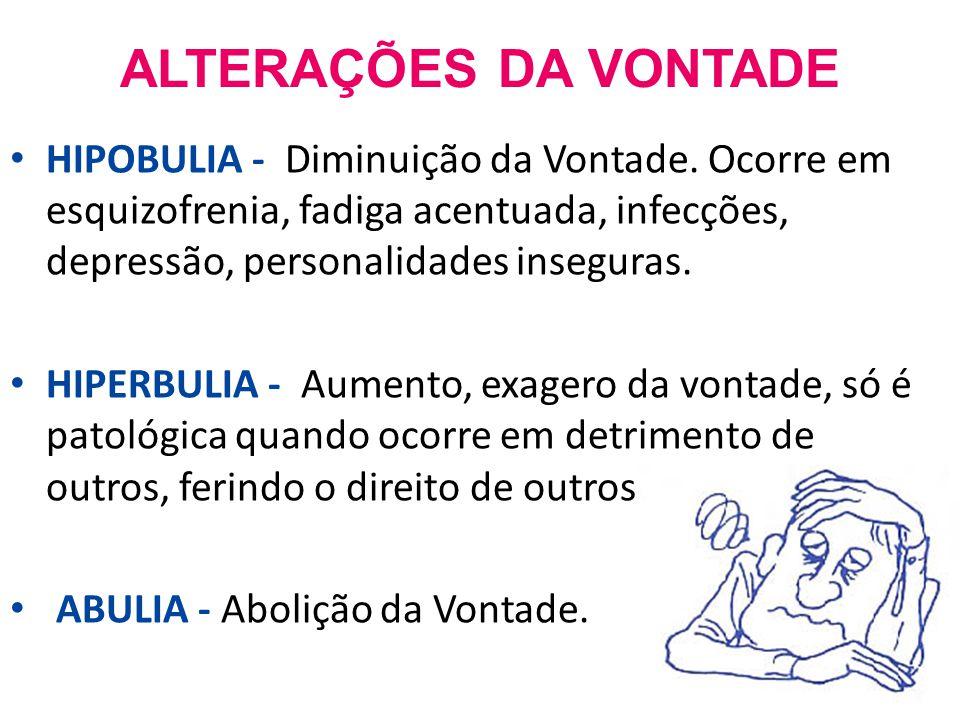 ALTERAÇÕES DA VONTADE HIPOBULIA - Diminuição da Vontade.