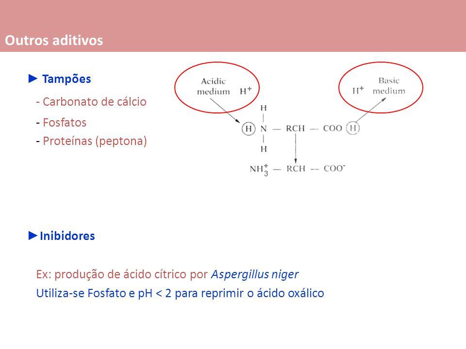 Tampões - Carbonato de cálcio - Fosfatos - Proteínas (peptona) Inibidores Ex: produção de ácido cítrico por Aspergillus niger Utiliza-se Fosfato e pH < 2 para reprimir o ácido oxálico Outros aditivos