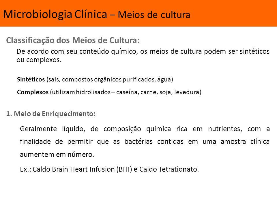 Introdução Classificação dos Meios de Cultura: De acordo com seu conteúdo químico, os meios de cultura podem ser sintéticos ou complexos.