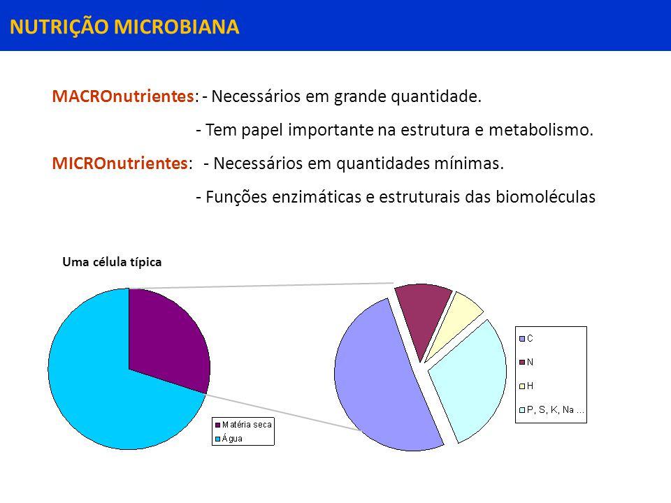 NUTRIÇÃO MICROBIANA MACROnutrientes: - Necessários em grande quantidade.