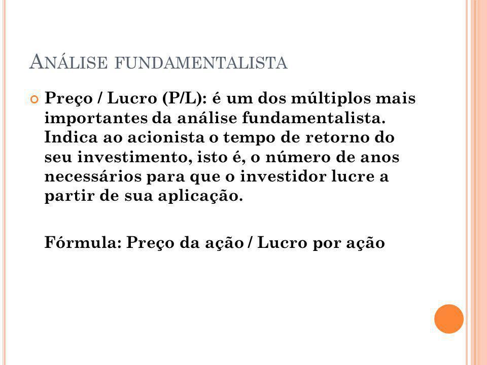 A NÁLISE FUNDAMENTALISTA Preço / Lucro (P/L): é um dos múltiplos mais importantes da análise fundamentalista. Indica ao acionista o tempo de retorno d