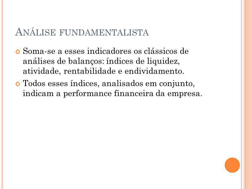 A NÁLISE FUNDAMENTALISTA Soma-se a esses indicadores os clássicos de análises de balanços: índices de liquidez, atividade, rentabilidade e endividamento.