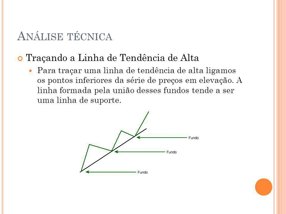 A NÁLISE TÉCNICA Traçando a Linha de Tendência de Alta Para traçar uma linha de tendência de alta ligamos os pontos inferiores da série de preços em elevação.