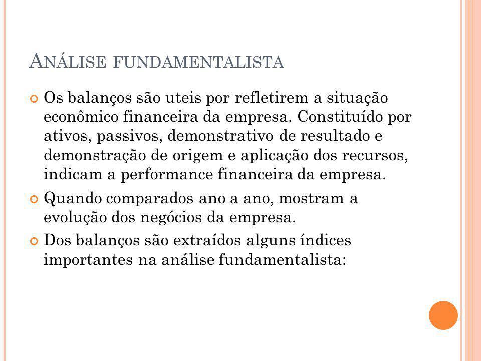 A NÁLISE FUNDAMENTALISTA Os balanços são uteis por refletirem a situação econômico financeira da empresa. Constituído por ativos, passivos, demonstrat