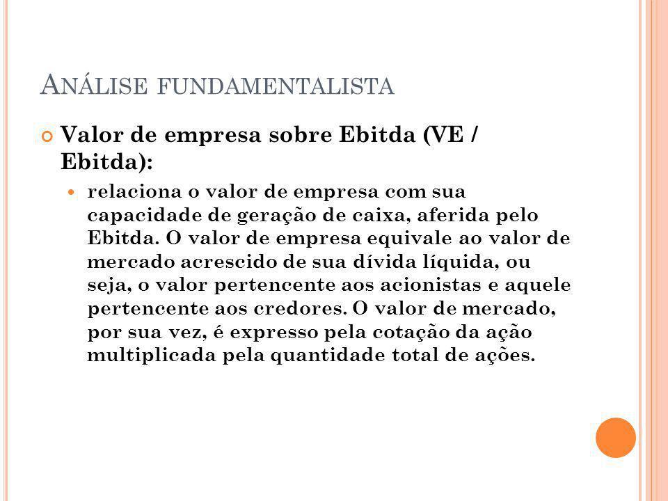A NÁLISE FUNDAMENTALISTA Valor de empresa sobre Ebitda (VE / Ebitda): relaciona o valor de empresa com sua capacidade de geração de caixa, aferida pel