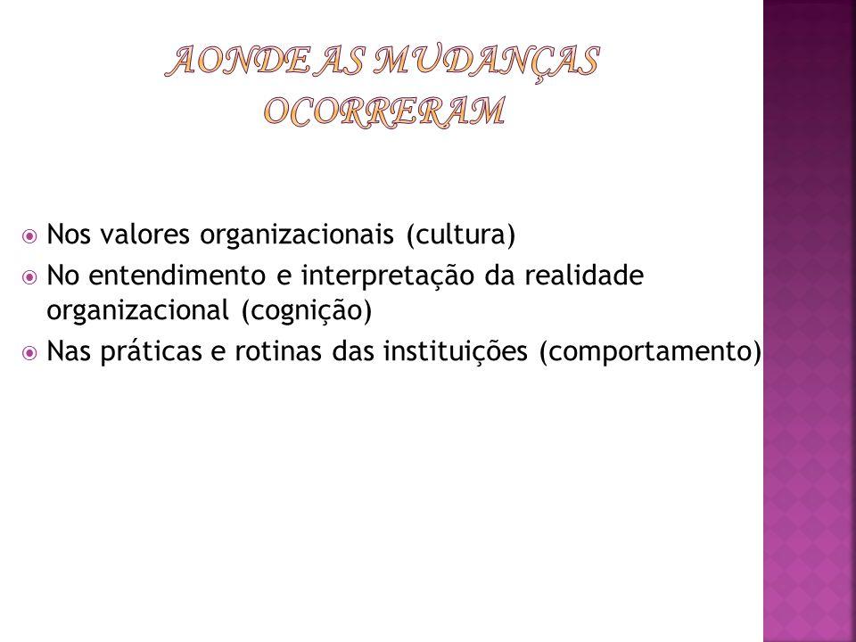 Nos valores organizacionais (cultura) No entendimento e interpretação da realidade organizacional (cognição) Nas práticas e rotinas das instituições (