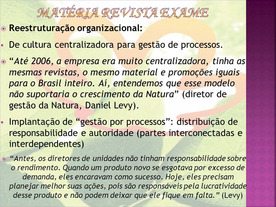 Reestruturação organizacional: De cultura centralizadora para gestão de processos. Até 2006, a empresa era muito centralizadora, tinha as mesmas revis