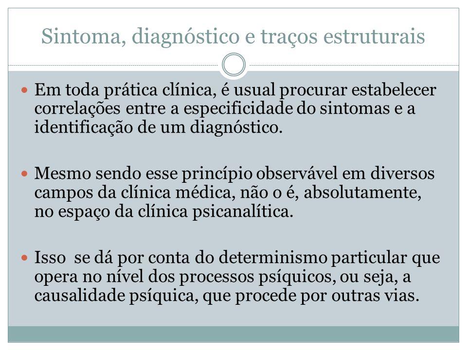 Sintoma, diagnóstico e traços estruturais Em toda prática clínica, é usual procurar estabelecer correlações entre a especificidade do sintomas e a identificação de um diagnóstico.