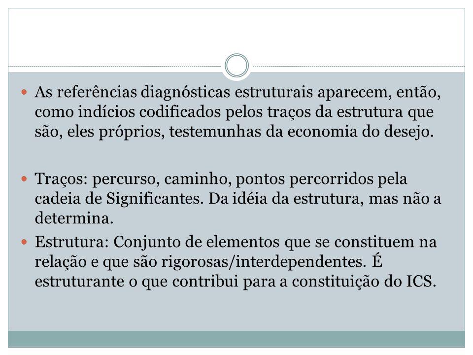 As referências diagnósticas estruturais aparecem, então, como indícios codificados pelos traços da estrutura que são, eles próprios, testemunhas da economia do desejo.