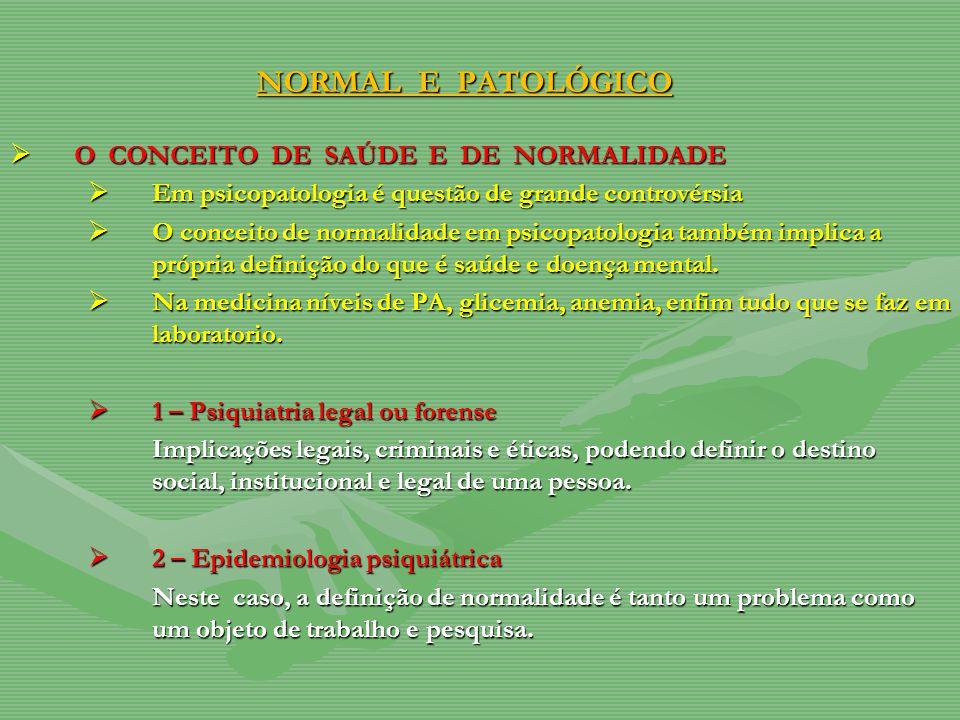 NORMAL E PATOLÓGICO O CONCEITO DE SAÚDE E DE NORMALIDADE O CONCEITO DE SAÚDE E DE NORMALIDADE Em psicopatologia é questão de grande controvérsia Em ps