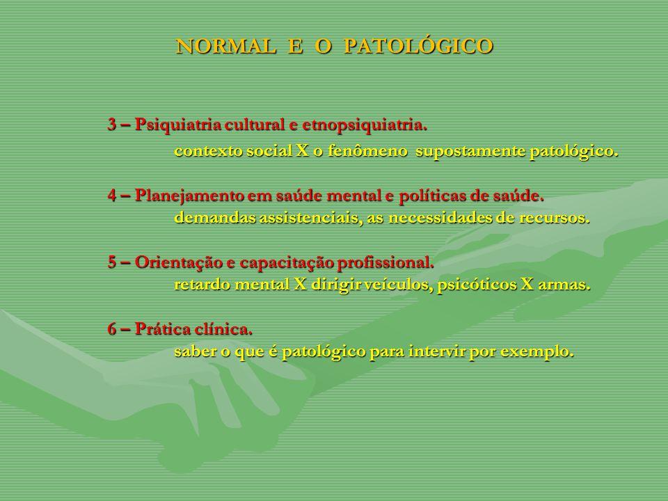 NORMAL E O PATOLÓGICO 3 – Psiquiatria cultural e etnopsiquiatria. contexto social X o fenômeno supostamente patológico. 4 – Planejamento em saúde ment