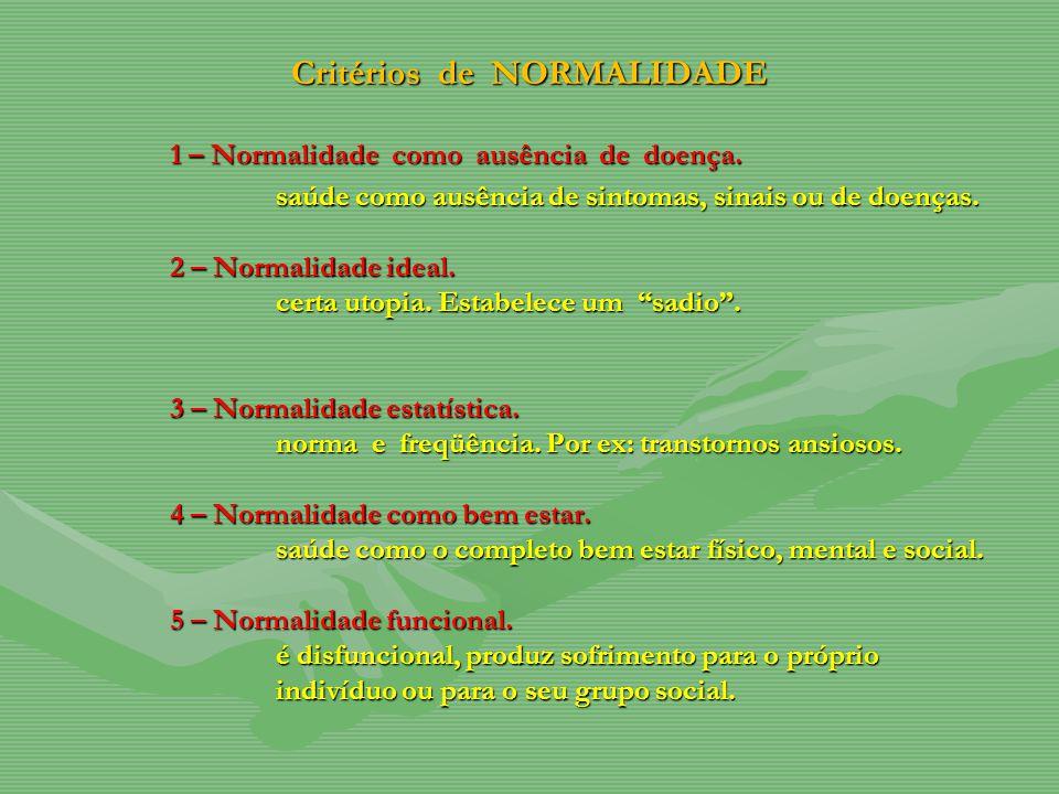 Critérios de NORMALIDADE 1 – Normalidade como ausência de doença. saúde como ausência de sintomas, sinais ou de doenças. 2 – Normalidade ideal. certa