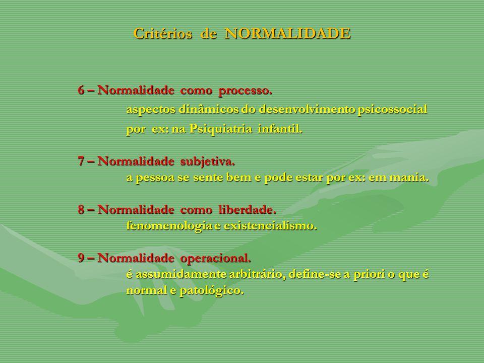 Critérios de NORMALIDADE 6 – Normalidade como processo. aspectos dinâmicos do desenvolvimento psicossocial por ex: na Psiquiatria infantil. 7 – Normal