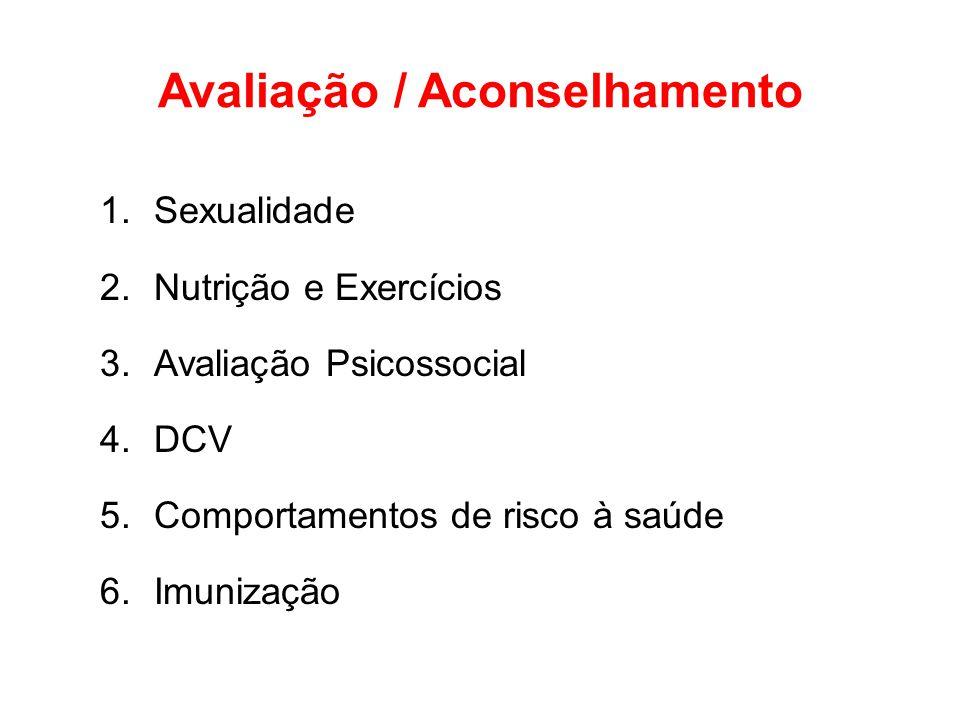 Avaliação / Aconselhamento 1.Sexualidade 2.Nutrição e Exercícios 3.Avaliação Psicossocial 4.DCV 5.Comportamentos de risco à saúde 6.Imunização