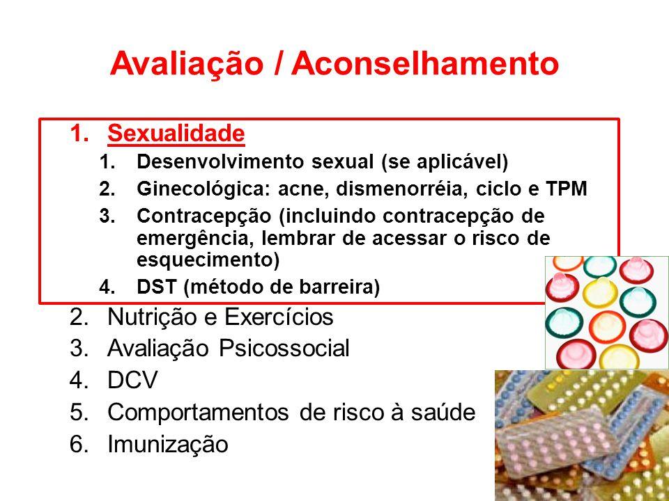 Avaliação / Aconselhamento 1.Sexualidade 1.Desenvolvimento sexual (se aplicável) 2.Ginecológica: acne, dismenorréia, ciclo e TPM 3.Contracepção (inclu