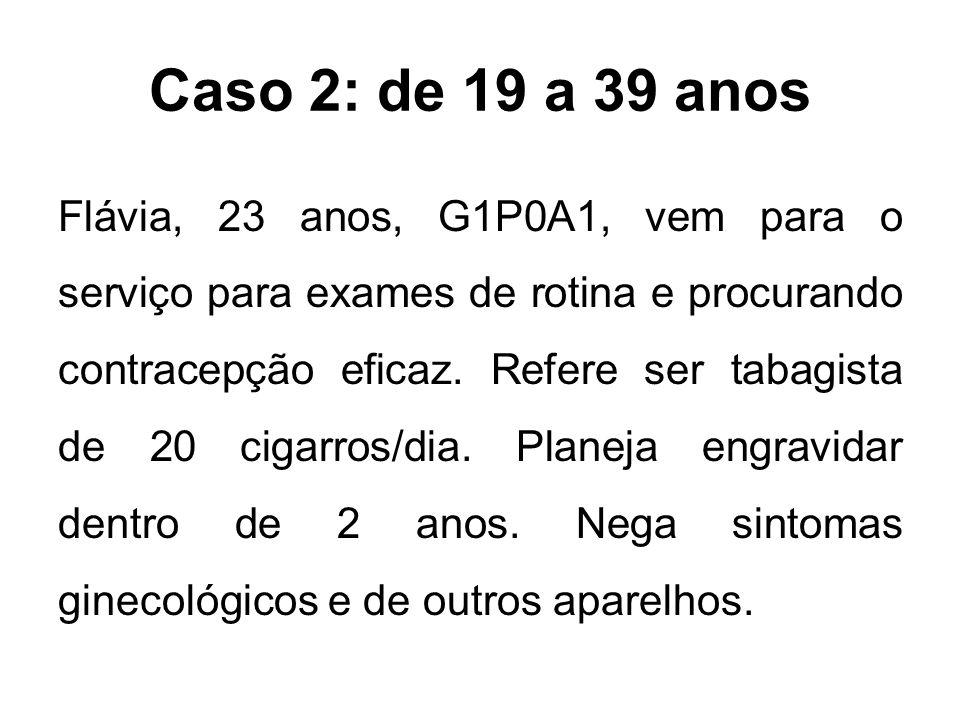 Caso 2: de 19 a 39 anos Flávia, 23 anos, G1P0A1, vem para o serviço para exames de rotina e procurando contracepção eficaz. Refere ser tabagista de 20
