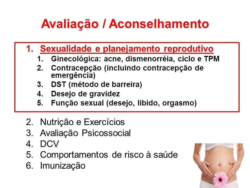 Avaliação / Aconselhamento 1.Sexualidade e planejamento reprodutivo 1.Ginecológica: acne, dismenorréia, ciclo e TPM 2.Contracepção (incluindo contrace