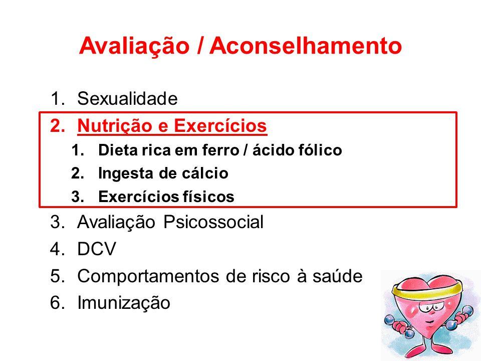 Avaliação / Aconselhamento 1.Sexualidade 2.Nutrição e Exercícios 1.Dieta rica em ferro / ácido fólico 2.Ingesta de cálcio 3.Exercícios físicos 3.Avali