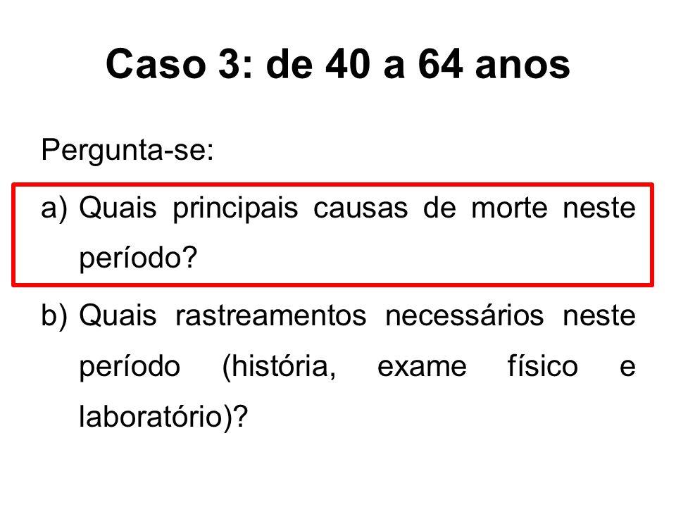 Caso 3: de 40 a 64 anos Pergunta-se: a)Quais principais causas de morte neste período? b)Quais rastreamentos necessários neste período (história, exam