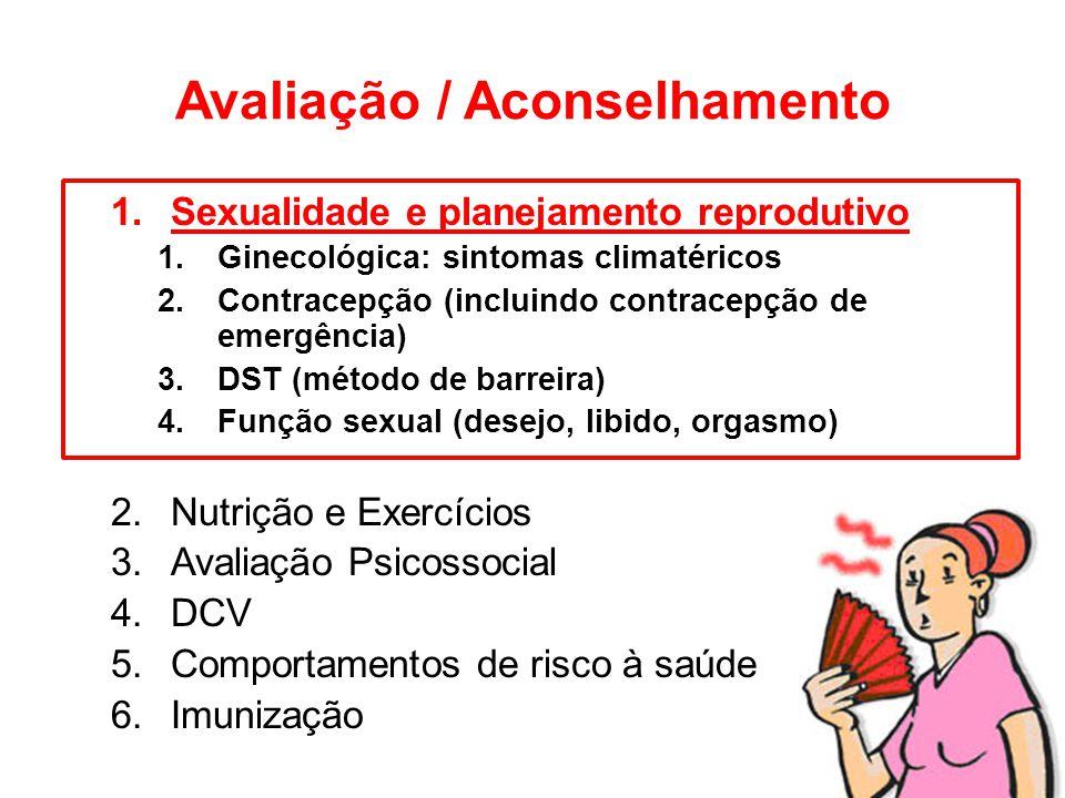 Avaliação / Aconselhamento 1.Sexualidade e planejamento reprodutivo 1.Ginecológica: sintomas climatéricos 2.Contracepção (incluindo contracepção de em