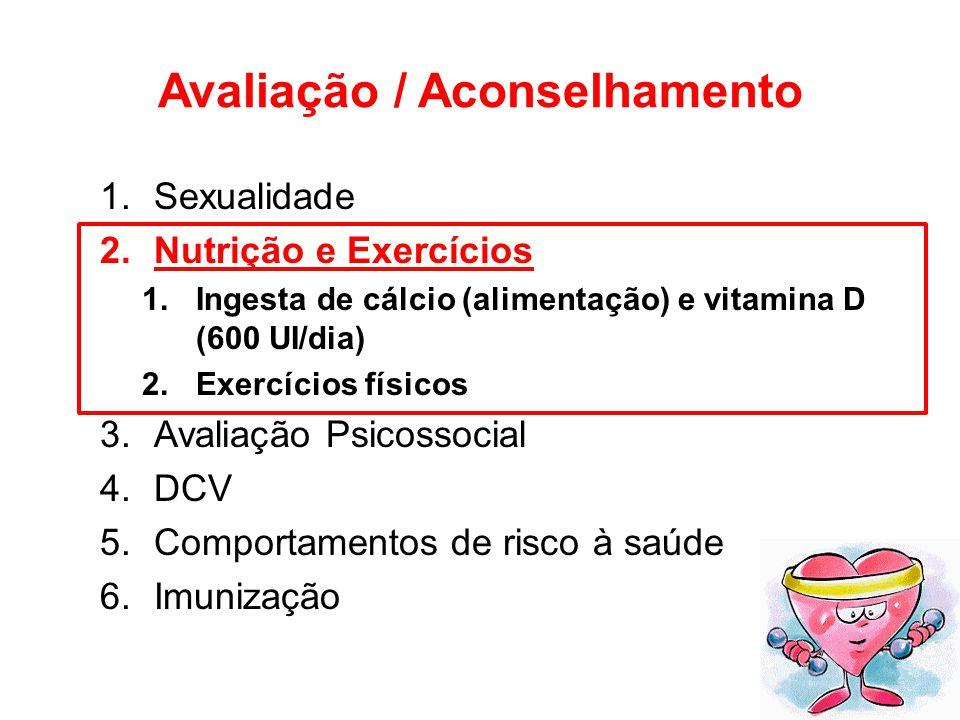 Avaliação / Aconselhamento 1.Sexualidade 2.Nutrição e Exercícios 1.Ingesta de cálcio (alimentação) e vitamina D (600 UI/dia) 2.Exercícios físicos 3.Av