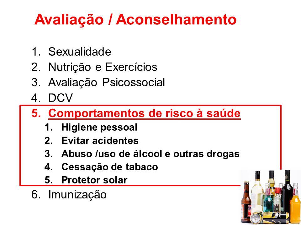 Avaliação / Aconselhamento 1.Sexualidade 2.Nutrição e Exercícios 3.Avaliação Psicossocial 4.DCV 5.Comportamentos de risco à saúde 1.Higiene pessoal 2.
