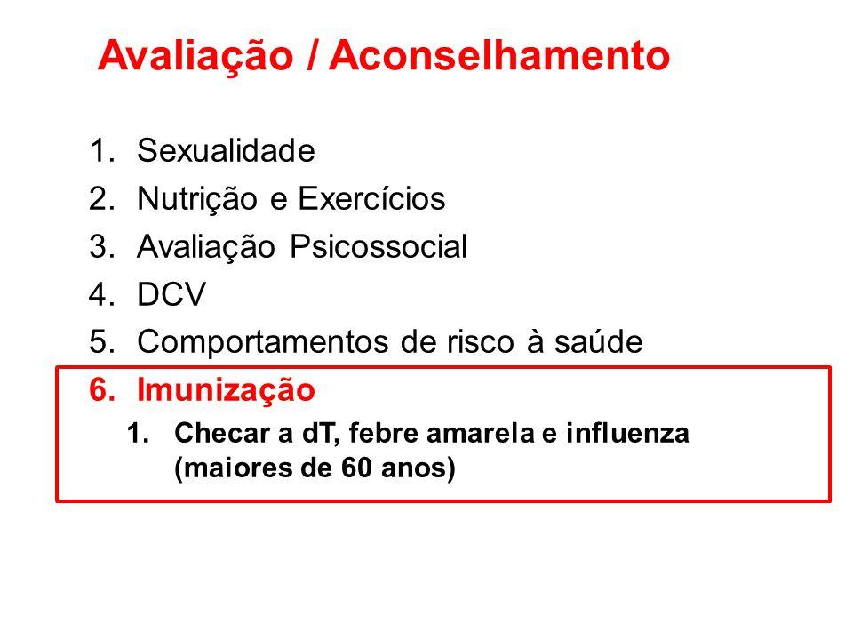 Avaliação / Aconselhamento 1.Sexualidade 2.Nutrição e Exercícios 3.Avaliação Psicossocial 4.DCV 5.Comportamentos de risco à saúde 6.Imunização 1.Checa