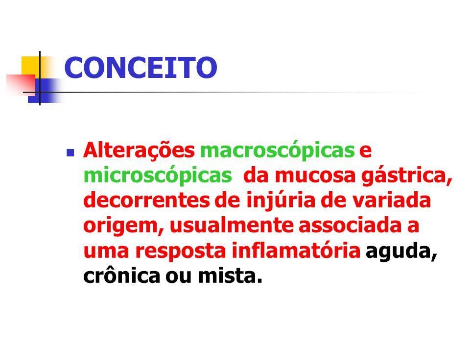 CONCEITO Alterações macroscópicas e microscópicas da mucosa gástrica, decorrentes de injúria de variada origem, usualmente associada a uma resposta in