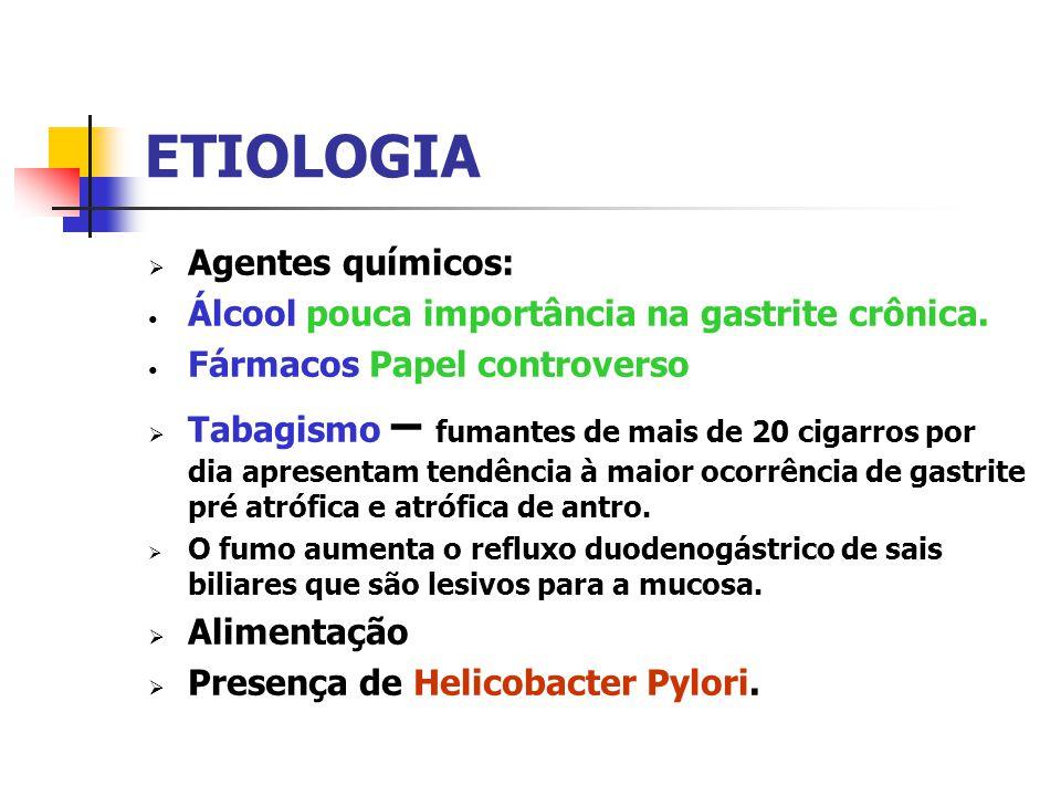 ETIOLOGIA Agentes químicos: Álcool pouca importância na gastrite crônica. Fármacos Papel controverso Tabagismo – fumantes de mais de 20 cigarros por d