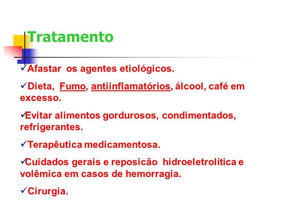 Tratamento Afastar os agentes etiológicos. Dieta, Fumo, antiinflamatórios, álcool, café em excesso. Evitar alimentos gordurosos, condimentados, refrig