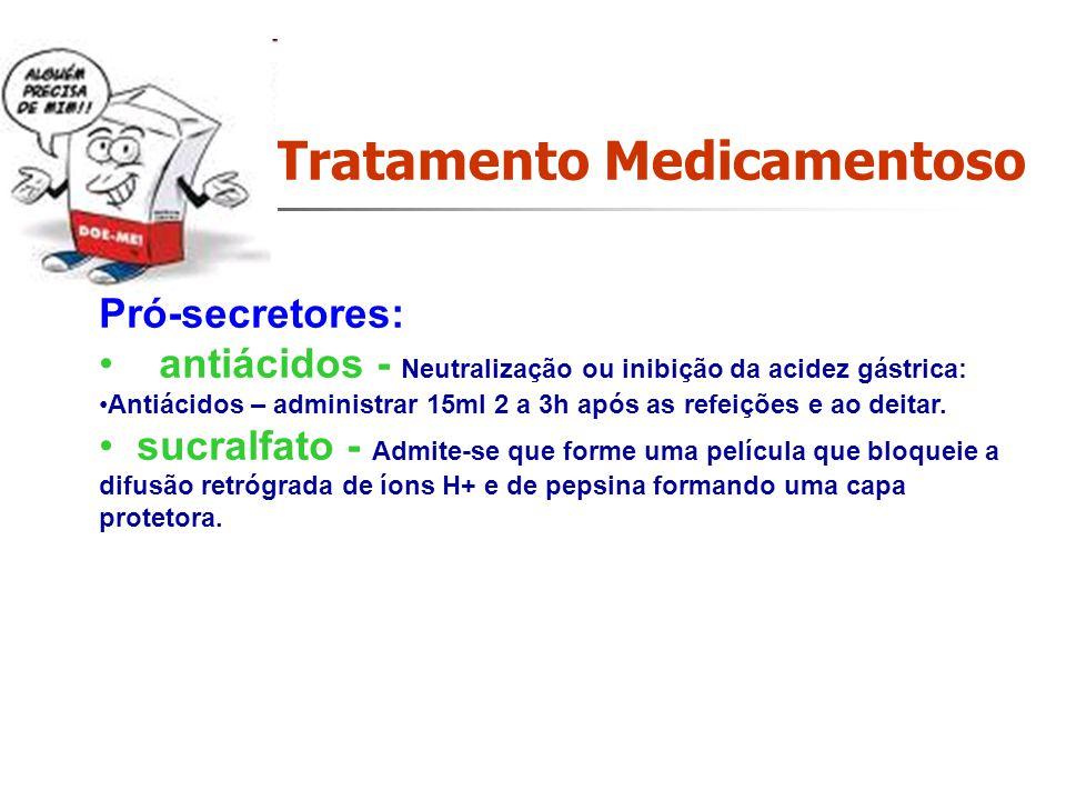 Tratamento Medicamentoso. Pró-secretores: antiácidos - Neutralização ou inibição da acidez gástrica: Antiácidos – administrar 15ml 2 a 3h após as refe
