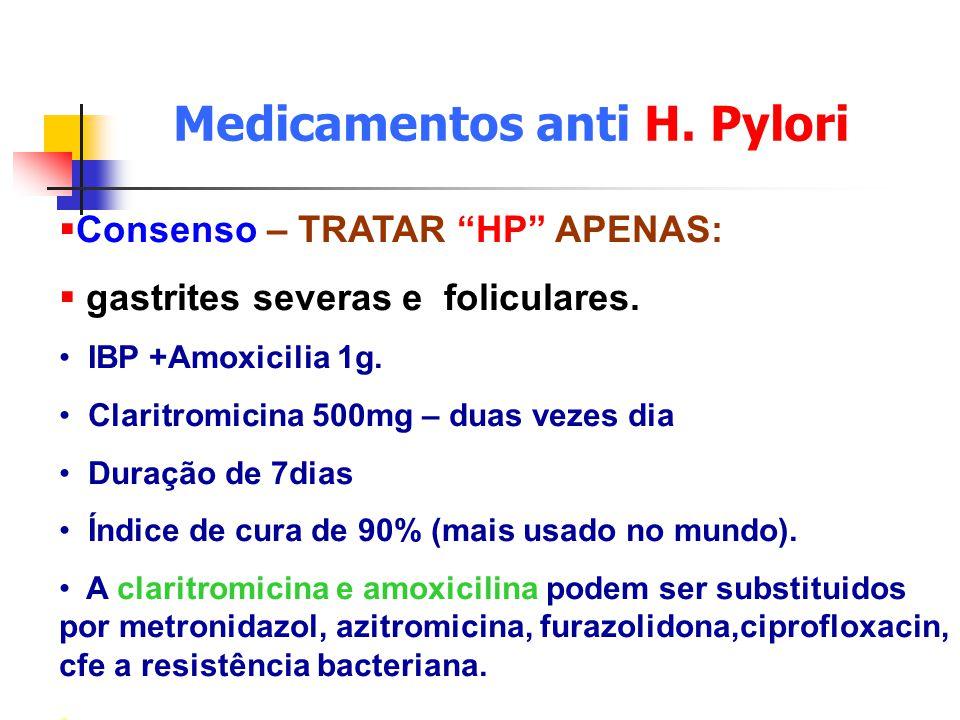 Medicamentos anti H. Pylori Consenso – TRATAR HP APENAS: gastrites severas e foliculares. IBP +Amoxicilia 1g. Claritromicina 500mg – duas vezes dia Du