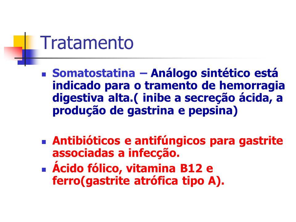 Tratamento Somatostatina – Análogo sintético está indicado para o tramento de hemorragia digestiva alta.( inibe a secreção ácida, a produção de gastri