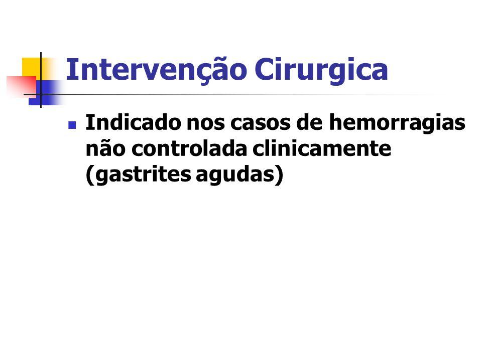 Intervenção Cirurgica Indicado nos casos de hemorragias não controlada clinicamente (gastrites agudas)