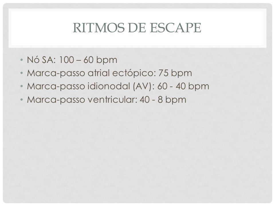 RITMOS DE ESCAPE Nó SA: 100 – 60 bpm Marca-passo atrial ectópico: 75 bpm Marca-passo idionodal (AV): 60 - 40 bpm Marca-passo ventricular: 40 - 8 bpm