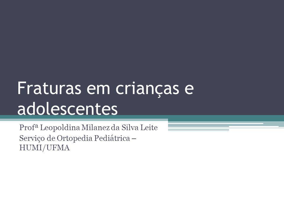 Fraturas em crianças e adolescentes Profª Leopoldina Milanez da Silva Leite Serviço de Ortopedia Pediátrica – HUMI/UFMA