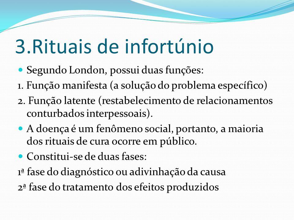 3.Rituais de infortúnio Segundo London, possui duas funções: 1. Função manifesta (a solução do problema específico) 2. Função latente (restabeleciment