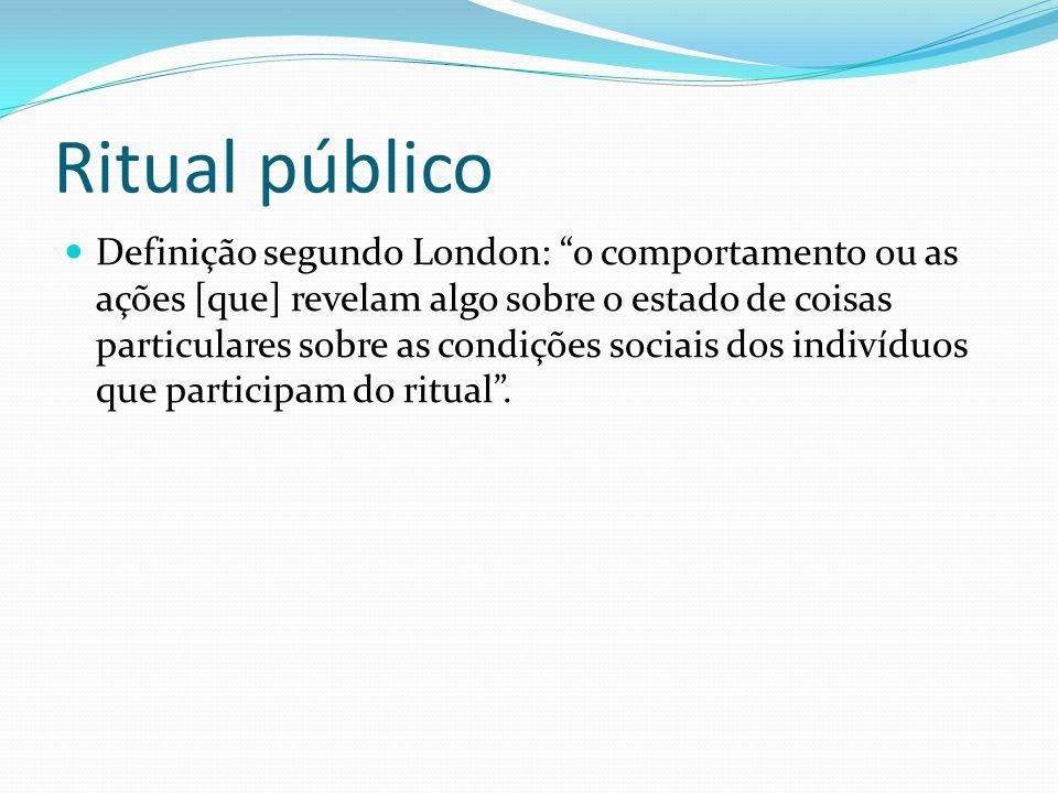 Ritual público Definição segundo London: o comportamento ou as ações [que] revelam algo sobre o estado de coisas particulares sobre as condições socia