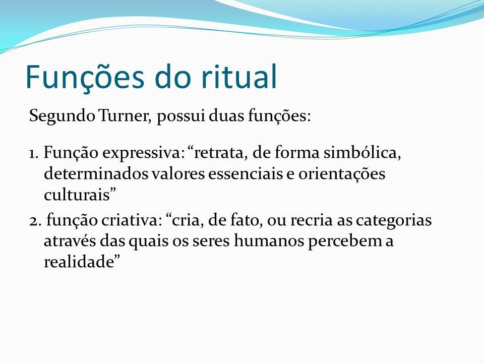 Funções do ritual Segundo Turner, possui duas funções: 1. Função expressiva: retrata, de forma simbólica, determinados valores essenciais e orientaçõe