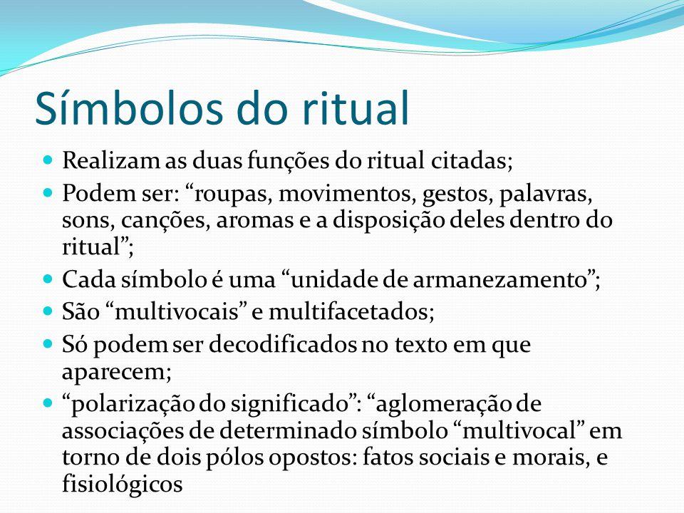 Símbolos do ritual Realizam as duas funções do ritual citadas; Podem ser: roupas, movimentos, gestos, palavras, sons, canções, aromas e a disposição d