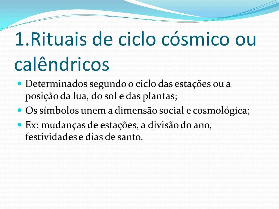 1.Rituais de ciclo cósmico ou calêndricos Determinados segundo o ciclo das estações ou a posição da lua, do sol e das plantas; Os símbolos unem a dime