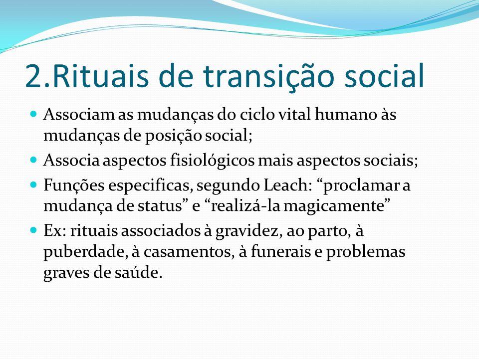 2.Rituais de transição social Associam as mudanças do ciclo vital humano às mudanças de posição social; Associa aspectos fisiológicos mais aspectos so
