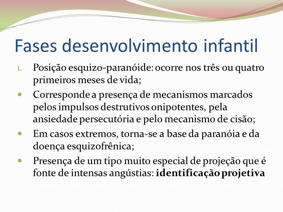 Fases desenvolvimento infantil 1. Posição esquizo-paranóide: ocorre nos três ou quatro primeiros meses de vida; Corresponde a presença de mecanismos m