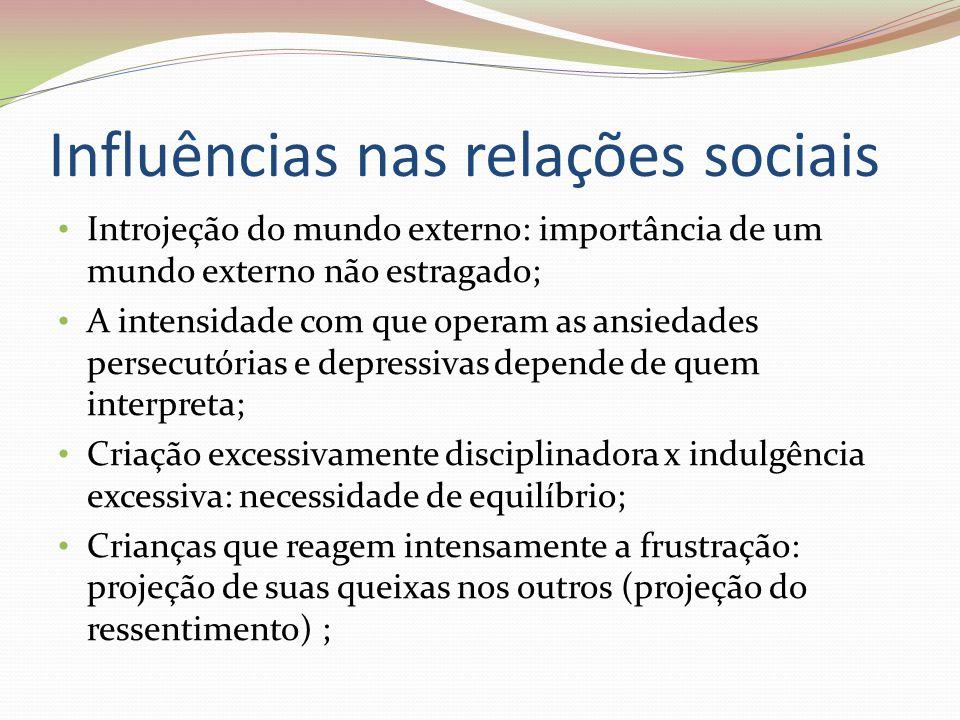 Influências nas relações sociais Introjeção do mundo externo: importância de um mundo externo não estragado; A intensidade com que operam as ansiedade