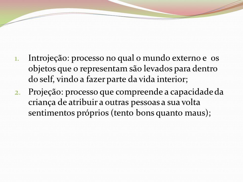 1. Introjeção: processo no qual o mundo externo e os objetos que o representam são levados para dentro do self, vindo a fazer parte da vida interior;